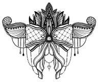 Gotisches Bogen- und Lotosblumentätowierungsmotiv r lizenzfreie abbildung