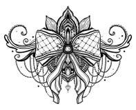 Gotisches Bogen- und Lotosblument?towierungsmotiv r vektor abbildung