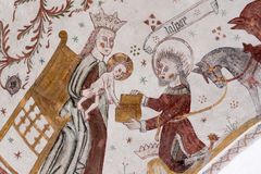 Gotisches Fresko von Balthasar, einer der drei heiligen Könige Lizenzfreie Stockfotografie