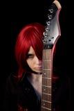 Gotisches Mädchen des Redhead mit Gitarre Lizenzfreie Stockfotos