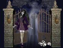 Gotisches Mädchen am Eisen-Gatter-Hintergrund Lizenzfreie Stockfotografie