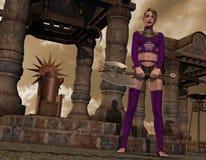 Gotisches Mädchen mit Kampfaxt Stockfoto