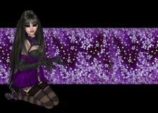 Gotisches Mädchen-purpurroter sternenklarer Hintergrund Lizenzfreies Stockbild