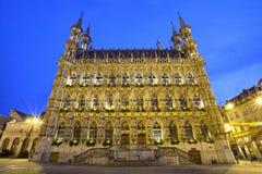 Gotisches Rathaus im Abendlicht, Löwen Stockfoto