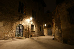Gotisches Viertel nachts. Barcelona Stockfotos