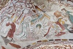 Gotisches Wandbild des Weihnachtsevangeliums Stockbild