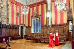 Gotisk arkitektur av stadshuset i Barcelona Royaltyfria Bilder