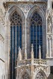 Gotisk arkitektur, detalj av en kyrka eller domkyrka Arkivfoto