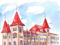 Gotisk byggnad för Saratov drivhus med röda tak Arkivfoto