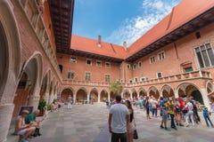 Gotisk Collegium Maius-Jagiellonian Universitet-Krakow (Cracow) - Polen Arkivfoto