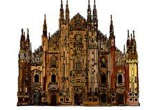 Gotisk domkyrka av Milan royaltyfri illustrationer