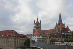 Gotisk domkyrka i staden Lausanne, Schweiz Royaltyfria Foton