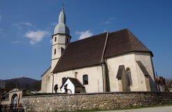 Gotisk evangelikal kyrka från det 14th århundradet i Kocelovce Arkivbild