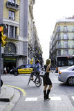 Gotisk fjärdedel i Barcelona, Spanien Arkivbild