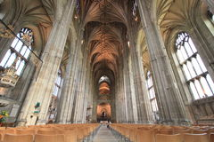 Gotisk inre av domkyrkan av Canterbury Fotografering för Bildbyråer