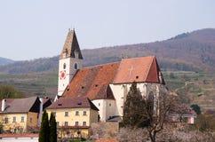 Gotisk kyrka i spitzen, lägre Österrike Fotografering för Bildbyråer