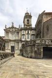 Gotisk kyrklig fasad för gränsmärke av helgonet Francis Igreja de Sao Fra Arkivfoto