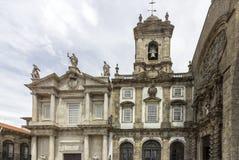 Gotisk kyrklig fasad för gränsmärke av helgonet Francis Igreja de Sao Fra Arkivfoton
