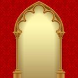 Gotisk port med röd klassisk dekorativ bakgrund royaltyfri illustrationer