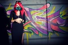 gotisk redhead för cyberflicka Royaltyfri Bild