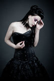 gotisk SAD kvinna Arkivbild