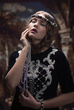 Gotisk stående av en flicka med en härlig framsida Royaltyfria Foton