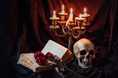 Gotisk stilleben med skallen Arkivfoton