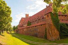 Gotisk Toutenic slott i Malbork, Polen Arkivbild