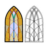 gotiska fönster Tappningramar nedfläckada fönster för kyrkligt exponeringsglas vektor illustrationer