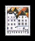 Gotiska hus, Steyr, Upper Austria, ferielandsÖsterrike ser Arkivfoto