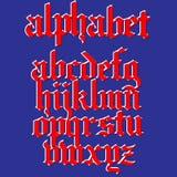 Gotiskt alfabet för vektor Tappningstilsort Typografi för etiketter, hea Arkivfoton