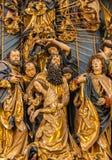 Gotiskt altare Veit Stoss - detaljer Cracow (Krakow) - Polen royaltyfria foton