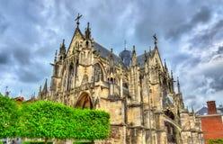 Gotiskt basilikahelgon Urbain av Troyes i Frankrike fotografering för bildbyråer