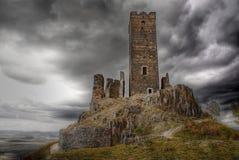 Gotiskt slott Hazmburk, Landmark royaltyfri bild