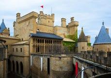gotiskt slott Olite Spanien Arkivbilder