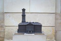 Gotiskt Wroclaw gammalt stadshus på marknadsfyrkanten, miniatyr för rullgardinen, järnstad järnminiatyrhus Stadshus in royaltyfria foton