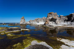 Gotlands sea stacks. Stacks at the island of Fårö, southern Sweden stock images