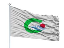 Goto- Stadt-Flagge auf Fahnenmast, Japan, Präfektur Nagasaki, lokalisiert auf weißem Hintergrund lizenzfreie abbildung