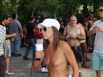 The 2016 GoTopless Day NYC Part 2 6. The annual event was established in 2007 by American organization founded in Nevada, Go Topless. To promote gender equality Stock Photos