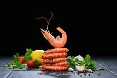 Gotować garnele, krewetki zdjęcie royalty free