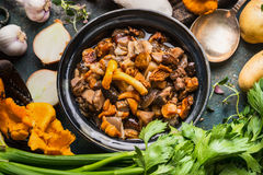 Gotować lasowe pieczarki w nieociosanym pucharze z kulinarnymi składnikami, sezonowy jedzenie obraz royalty free
