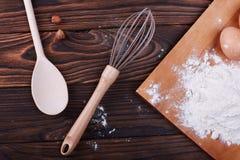 Gotować w domu concpet jedzenie healhty Drewniana mąka Obraz Stock