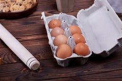 Gotować w domu concpet jedzenie healhty Drewniana mąka Obraz Royalty Free