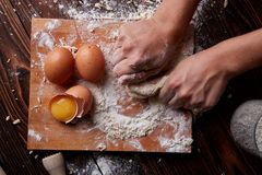 Gotować w domu concpet jedzenie healhty Drewniana mąka Zdjęcie Stock