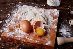 Gotować w domu concpet jedzenie healhty Drewniana mąka Zdjęcia Stock