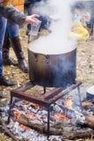 Gotować w naturze Kocioł na ogieniu w lesie Zdjęcie Royalty Free