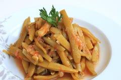 Gotować fasolki szparagowe Na talerzu Obraz Royalty Free