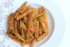 Gotować fasolki szparagowe Na talerzu Obrazy Stock