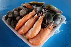 Gotowana garnela i setu owoce morza Fotografia Stock