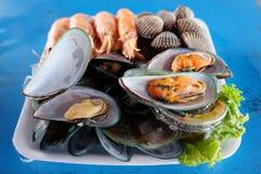 Gotowana garnela i setu owoce morza Obrazy Royalty Free
